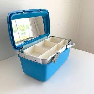 Vintage Bags - Vintage Samsonite Train Case Turquoise Travel Bag